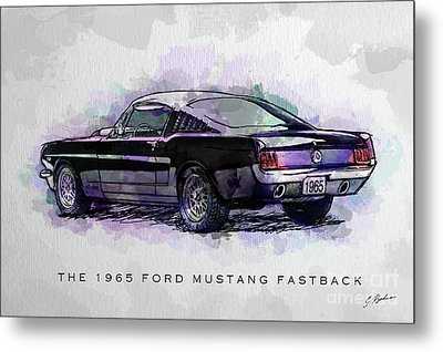 Black Stallion 1965 Ford Mustang Fastback Metal Print