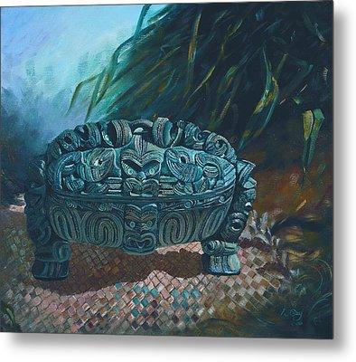 Black Wakahuia Metal Print by Peter Jean Caley