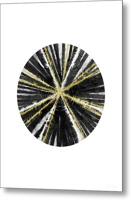 Black, White And Gold Ball- Art By Linda Woods Metal Print