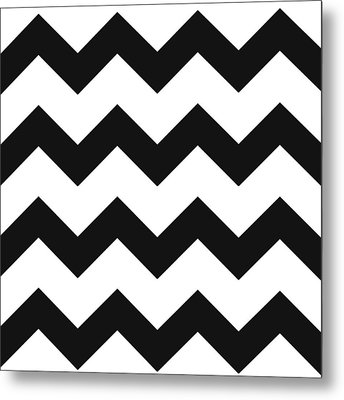 Metal Print featuring the mixed media Black White Geometric Pattern by Christina Rollo
