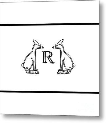 Black White Rabbits Line Metal Print