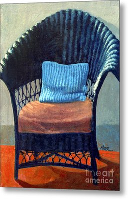 Black Wicker Chair Metal Print by Donald Maier