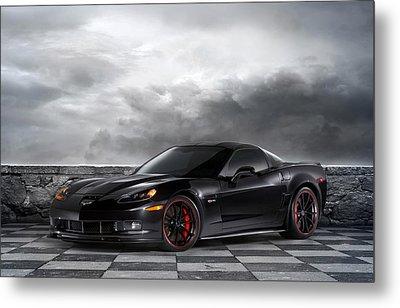 Black Z06 Corvette Metal Print by Peter Chilelli