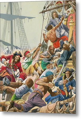 Blackbeard And His Pirates Attack Metal Print by Peter Jackson