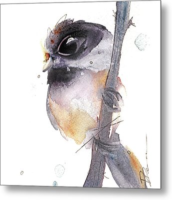 Metal Print featuring the painting Blackcapped Chickadee by Dawn Derman