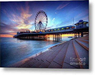 Blackpool Pier Sunset Metal Print by Yhun Suarez