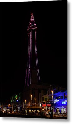Blackpool Tower Pink Metal Print by Steev Stamford