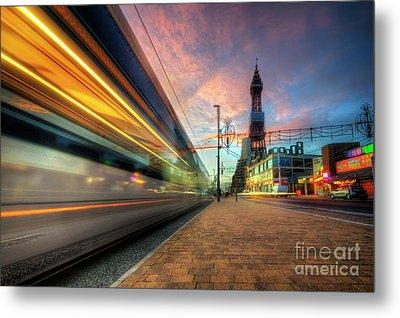 Blackpool Tram Light Trail Metal Print by Yhun Suarez