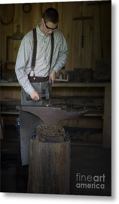 Metal Print featuring the photograph Blacksmith At Work by Liane Wright