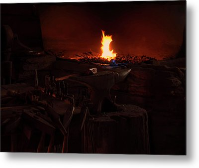 Metal Print featuring the digital art Blacksmith Shop by Chris Flees