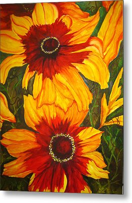 Metal Print featuring the painting Blanket Flower by Lil Taylor