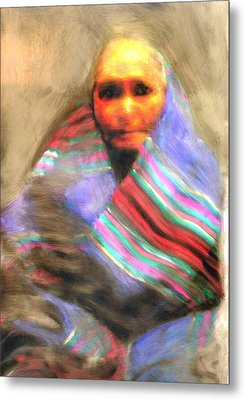 Metal Print featuring the painting Blanket Weaver by FeatherStone Studio Julie A Miller