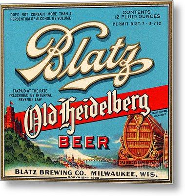 Blatz Old Heidelberg Vintage Beer Label Restored Metal Print