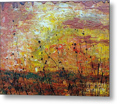 Metal Print featuring the painting Blazing Prairie by Jacqueline Athmann
