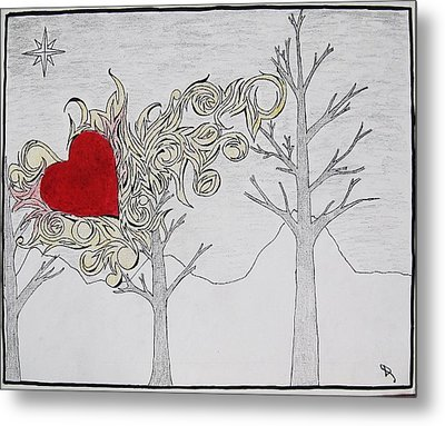 Metal Print featuring the drawing Bleeding Heart by Daryl Chakravarthy