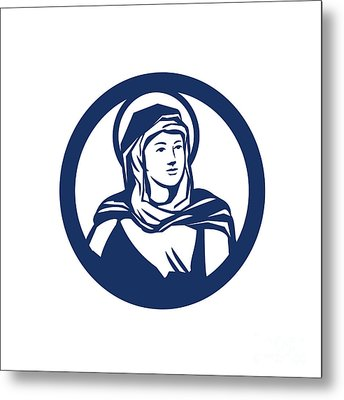 Blessed Virgin Mary Circle Retro Metal Print