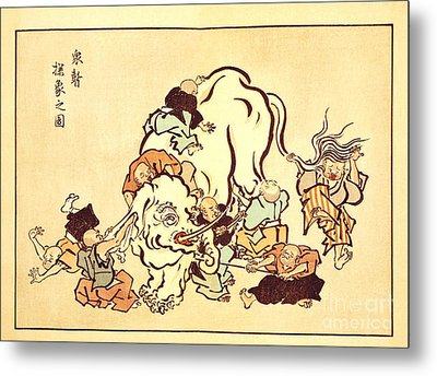 Blind Monks Examining An Elephant Metal Print by Reproductions