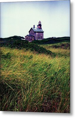 Block Island Light-house Metal Print by John Scates