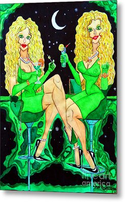 Blond Girls At Disco Metal Print