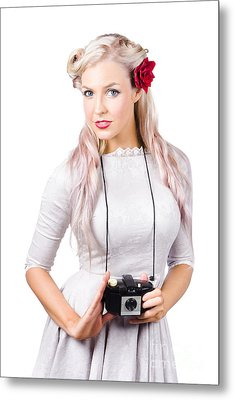 Blond Woman With Camera Metal Print by Jorgo Photography - Wall Art Gallery