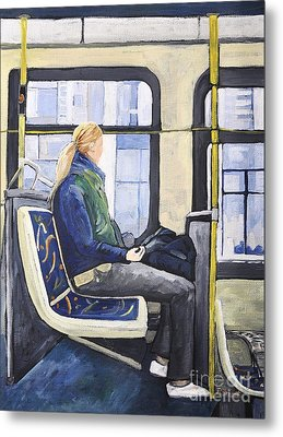 Blonde Girl On 107 Bus Montreal Metal Print by Reb Frost