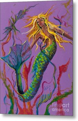 Blonde Mermaid Metal Print by Mary DuCharme