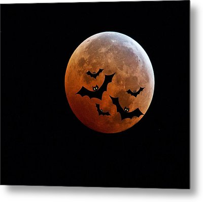Blood Full Moon And Bats Metal Print by Marianna Mills