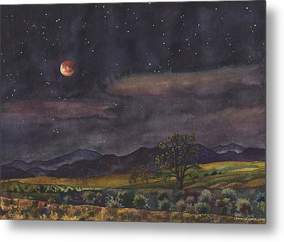 Metal Print featuring the painting Blood Moon Over Boulder by Anne Gifford