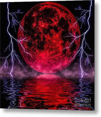 Blood Moon Over Mist Lake Metal Print by Naomi Burgess
