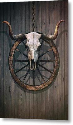 Bloody Bull Skull Metal Print