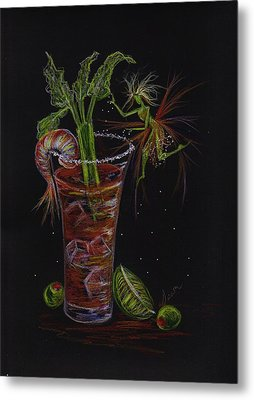 Metal Print featuring the drawing Bloody Mary by Dawn Fairies