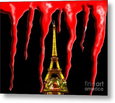 Bloody Paris - November 13, 2015 Metal Print by Al Bourassa
