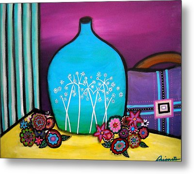 Metal Print featuring the painting Bloom And Vase by Pristine Cartera Turkus