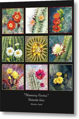 Metal Print featuring the painting Blooming Cactus by Marilyn Smith