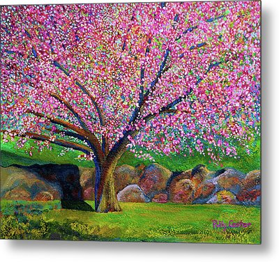 Blooming Crabapple In Evening Light Metal Print by Polly Castor