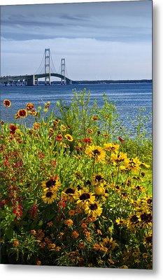 Blooming Flowers By The Bridge At The Straits Of Mackinac Metal Print