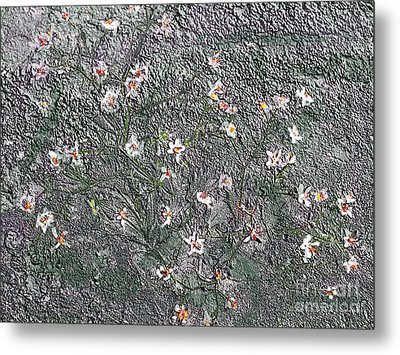 Blooms In Stone Metal Print by Annlynn Ward