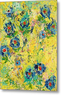 Blossoming Blue Metal Print