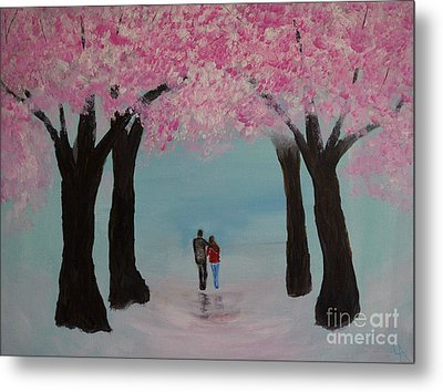 Blossoming Romance Metal Print by Leslie Allen