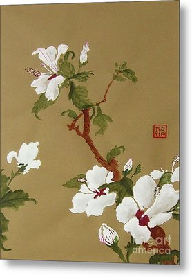 Blossoms - Chinese Watercolor Painting Metal Print by Merton Allen