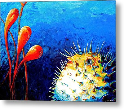 Blow Fish Metal Print