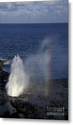 Blowhole At Poipu Metal Print by Stan and Anne Foster