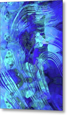 Blue Abstract Art - Reflections - Sharon Cummings Metal Print by Sharon Cummings