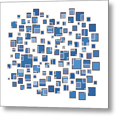 Blue Abstract Rectangles Metal Print by Frank Tschakert