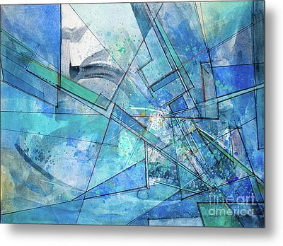 Metal Print featuring the painting Blue Abstract  by Robert Anderson