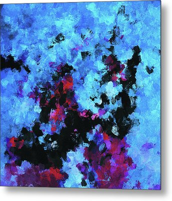 Metal Print featuring the painting Blue And Black Abstract Wall Art by Ayse Deniz