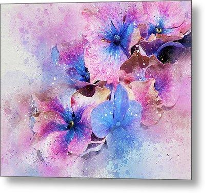 Blue And Purple Flowers Metal Print