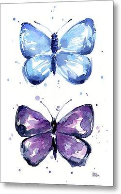 Blue And Purple Watercolor Butterflies Metal Print by Olga Shvartsur