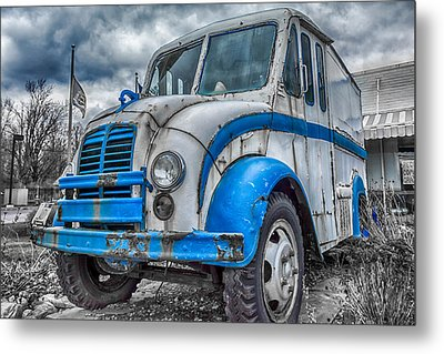 Blue And White Divco Metal Print by Guy Whiteley