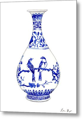 Blue And White Ginger Jar Chinoiserie 7 Metal Print